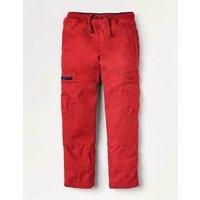 Cosy Lined Cargo Trousers Red Boys Boden, Red