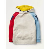 Cosy Colourblock Star Hoodie Natural Boys Boden, Beige