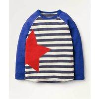 Sporty Raglan T-Shirt Navy Boys Boden, Blue