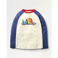 Rainbow Raglan T-shirt Ivory Boys Boden, Ivory