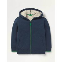 Borg-lined Zip-up Hoodie Blue Marl Boys Boden, Blue Marl