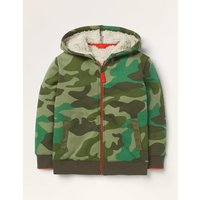 Borg-lined Zip-up Hoodie Green Boys Boden, Green