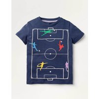 Sporty Graphic T-shirt Blue Boys Boden, Navy