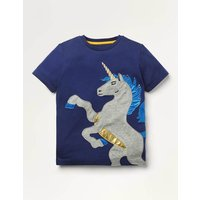 Metallic Applique T-shirt Blue Boys Boden, Navy