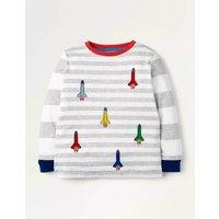 Fun Stripe T-shirt Grey Boys Boden, Grey