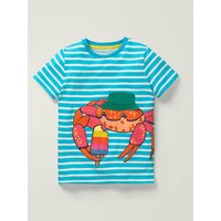 Novelty Appliqué T-shirt Blue Boys Boden, Blue