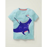 Sequin Sea Creatures T-shirt Blue Boys Boden, Blue