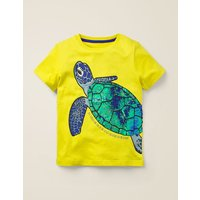 Sequin Sea Creatures T-shirt Yellow Boys Boden, yellow