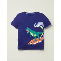 Dinosaur Appliqué T-shirt Blue Boys Boden, Indigo