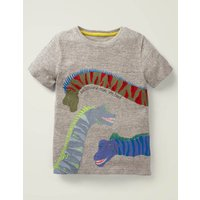 Animal Fact Appliqué T-shirt Grey Boys Boden, Grey