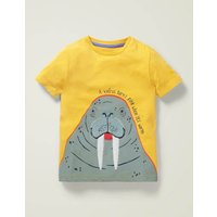 Animal Fact Appliqué T-shirt Yellow Boys Boden, yellow