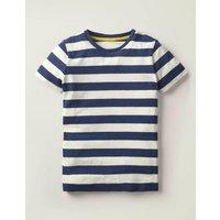Supersoft Short Sleeve T-shirt Blue Boys Boden, Ivory