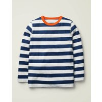 Supersoft Long Sleeved T-shirt Blue Boys Boden, Ivory