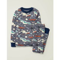 Glow-in-the-dark Long Pyjamas Blue Grey Lunar Landing Boys Boden, Blue Grey Lunar Landing