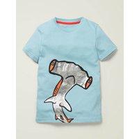 Printed Sea Creature T-shirt Blue Boys Boden, Blue