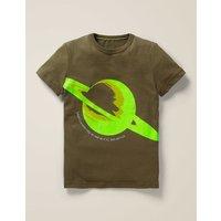 Glowing Planet T-shirt Green Boys Boden, Green