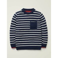 Essential Crew Jumper Blue Boys Boden, Ivory