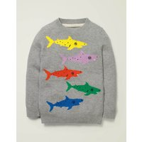 Shark Crew Jumper Grey Boys Boden, Grey