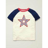 Textured Star Raglan T-shirt Ivory Boys Boden, Ivory