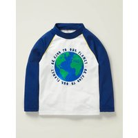 Natural World Rash Vest White Boys Boden, Blue