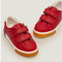Leather Low Tops Red Boys Boden, Red