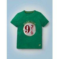 Platform 9¾ Sequin T-shirt Green Boys Boden, Green
