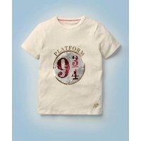 Platform 9¾ Sequin T-shirt Ivory Boys Boden, Ivory