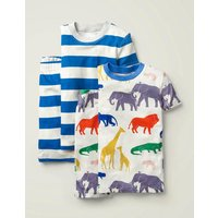 Twin Pack Short Pyjamas Ivory Boys Boden, Ivory