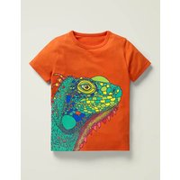 Bright Animal Textured T-shirt Orange Boys Boden, Orange