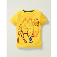 Wild Animal Stitch T-shirt Yellow Boys Boden, Camel