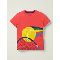 Sports Appliqué T-shirt Red Boys Boden, Red