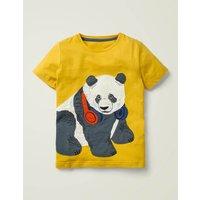 Animal Applique T-shirt Yellow Boys Boden, yellow