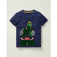 Colour-change Sequin T-shirt Blue Boys Boden, Navy