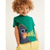 Hungry Animal Appliqué T-shirt Green Boys Boden, Green