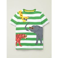 Friendly Appliqué T-shirt Green Boys Boden, Multicouloured