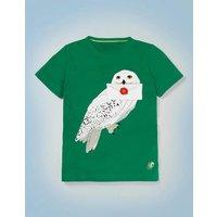 Hedwig Appliqué T-shirt Green Boys Boden, Green