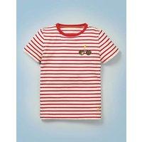 Hogwarts Breton T-shirt Red Boys Boden, Ivory