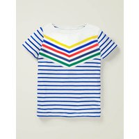 Sporty Chevron Stripe T-shirt Blue Boys Boden, Blue