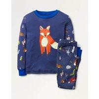 Cosy Long John Pyjamas Blue Boys Boden, Blue