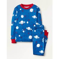 Glow-in-the-Dark Long Pyjamas Bold Blue Glow Planets Boys Boden, Bold Blue Glow Planets