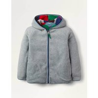 Cosy Reversible Zip-up Hoodie Grey Boys Boden, Grey