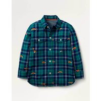 Cosy Embroidered Check Shirt Green Boys Boden, Green
