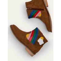 Rainbow Scene Boots Brown Girls Boden, Pink