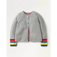 Cotton Cashmere Mix Cardigan Grey Marl Rainbow Boden, Grey Marl Rainbow