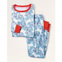 Snug Long John Pyjamas Frosted Blue Unicorn Floral Boden, Frosted Blue Unicorn Floral