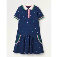 Spotty Polo Jersey Dress Blue Girls Boden, Blue