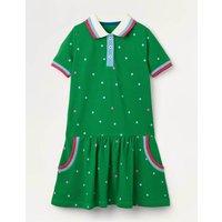 Spotty Polo Jersey Dress Highland Green Spot Girls Boden, Highland Green Spot
