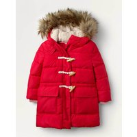 Longline Padded Jacket Pink Christmas Boden, Red