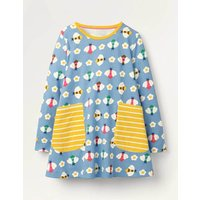 Printed Jersey Pocket Tunic Blue Girls Boden, Blue