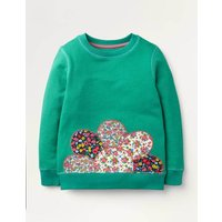Applique Snuggly Sweatshirt Green Girls Boden, Green